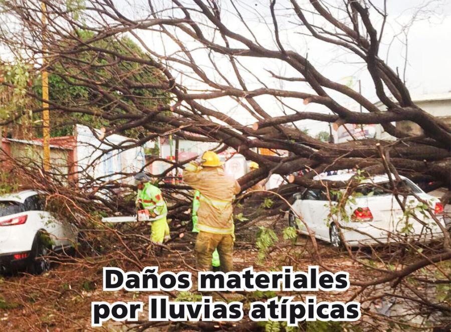 Daños materiales por lluvias atípicas en la capital