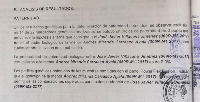 Negativa, prueba genética de paternidad solicitada a Javier Villacaña