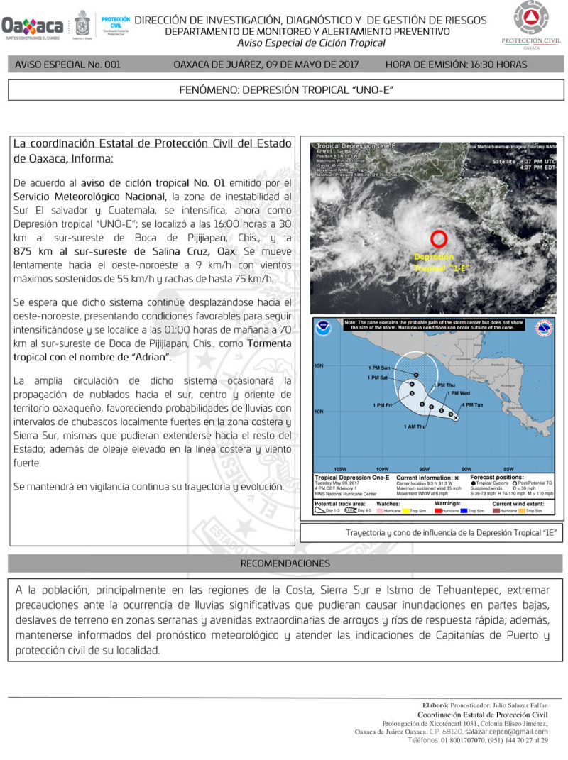 Llama CEPCO a mantenerse alerta por depresión tropical