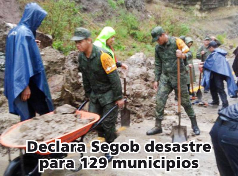 Emite Segob declaratorias dedesastre para 129 municipios