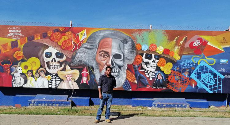 Mural en honor a Francisco Toledo en la Villa de Etla, Oaxaca.