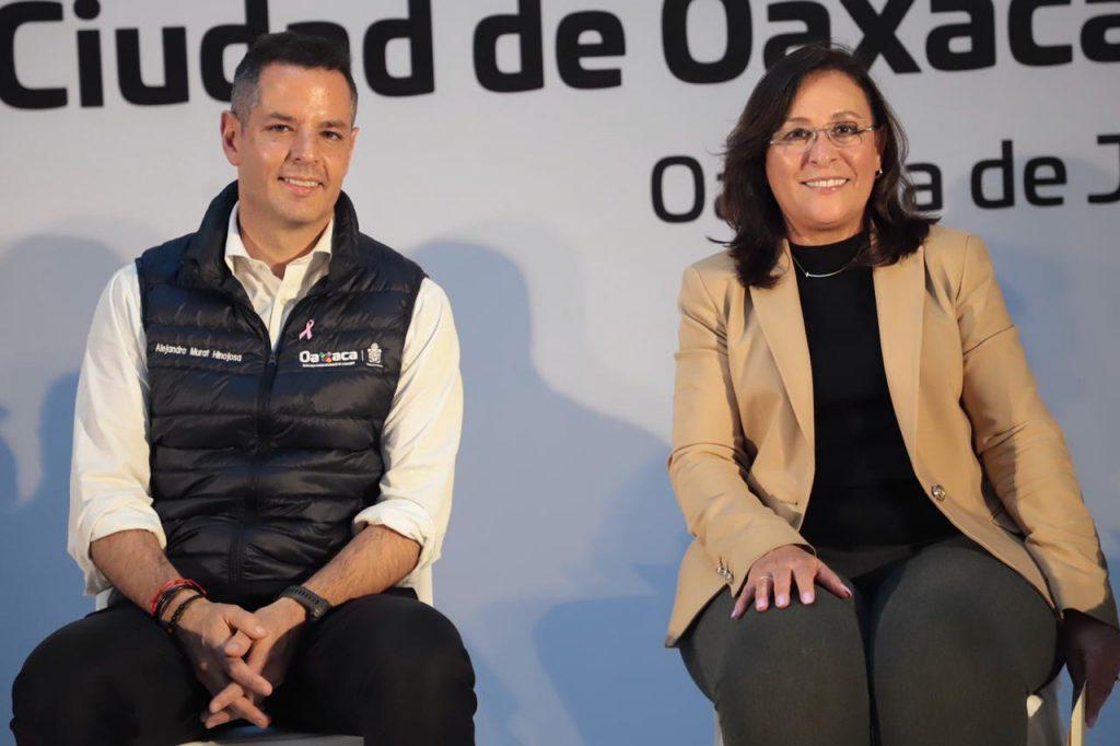 El gobernador de Oaxaca, Alejandro Murat, y la secretaria de Energía, Rocío Nahle.