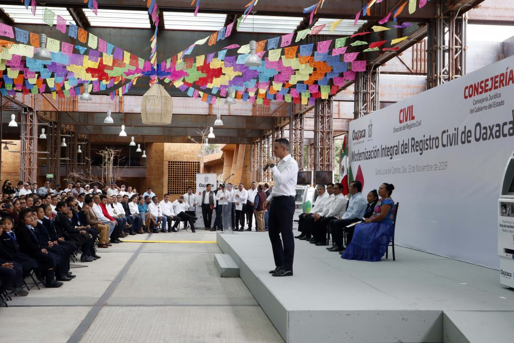 Intervención del gobernador de Oaxaca, Alejandro Murat, en el lanzamiento del programa de Modernización del Registro Civil de Oaxaca