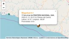 Sin daños en Oaxaca por serie de sismos esta madrugada