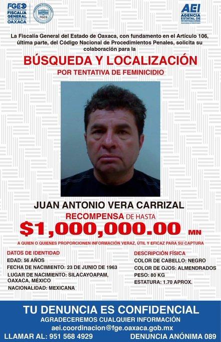 Ofrecen recompensa de 1 mdp para localizar a Juan Vera Carrizal