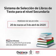 Solicita IEEPO a directores de secundaria seleccionar libros de texto