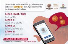 Habilita Oaxaca de Juárez Centro de Información y Orientación sobre Covid-19