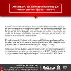 Alerta IEEPO a las autoridades municipales y sociedad en general sobre falsosgestores