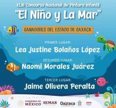 """Felicita IEEPO a ganadores estatales del certamen """"El Niño y La Mar"""" 2020"""
