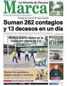 Portada Diario Marca, la historia de Oaxaca, del viernes 3 de julio del 2020.