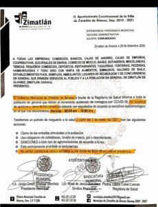 Refuerzan medidas restrictivas en Zimatlán por aumento de casos de coronavirus