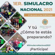 Convocan a participar este lunes 21 de junio en el Primer Simulacro Nacional 2021